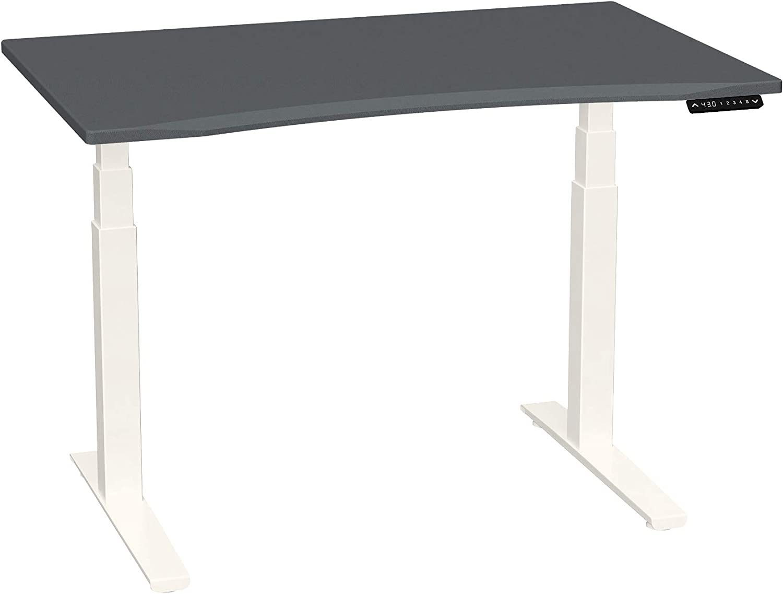 SmartMoves by Howard Miller Dual Motor Electric Adjustable Height Desk with Curved Desktop (48 in Width, Carbon Fiber Desktop/Crystal White Base)