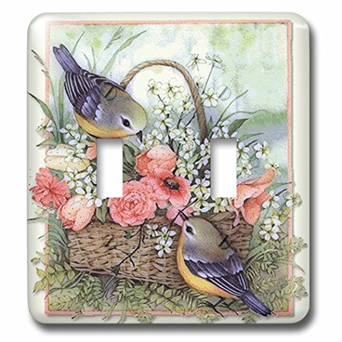 3dRose lsp_167135_2 Pretty Sparrows in a Beautiful Basket of Roses Light Switch - Light Covers Rose Switch
