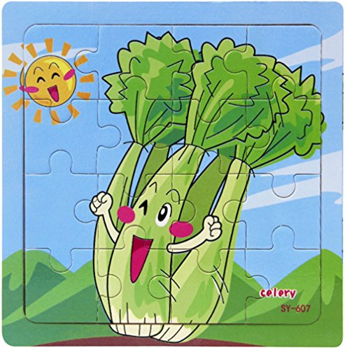 Layhome 9 Pieces Wooden Puzzle Kids Baby Learning Toy Vegetables&Fruits World (celery)