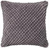 Loloi DSET DSETP0125CC00PIL3 100% Cotton Velvet Cover with Down Fill Decorative Accent Pillow, 22'' x 22'', Charcoal