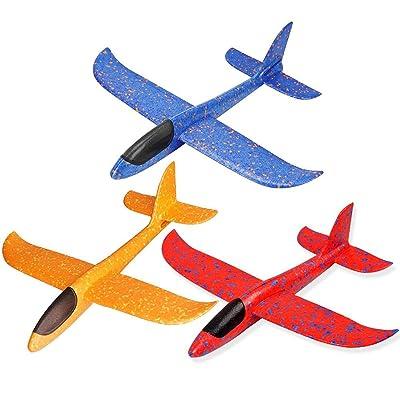 3pcs avión planeador glider avion juguete infantil, planeadores de espuma EPP, buena flexibilidad y resistencia al impacto, puede doblarse, no es fácil de romper, Niños Aviones Juguetes: Bebé