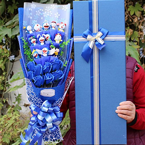 Doraemon Action Figure Soup Flower Model Kid Toy PVC Doraemon Cat Anime Animal Dolls Bouquet Romantic Birthday Gift No Box (3)]()