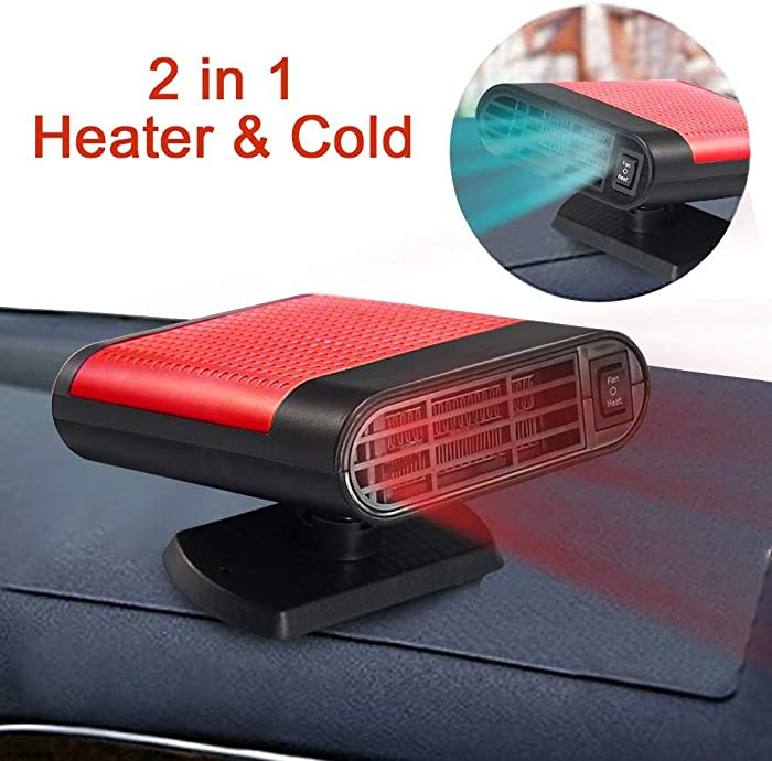 SONYANG Upgrade Car Heater, 2 in 1 Portable Fast Heating Car Heater with Heating & Cooling Function Defroster Defogger 12V 150W Demister Vehicle Heater Fan for Windshield (Red)