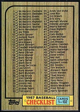 Amazoncom 1987 Topps Baseball 128 Checklist 1 132