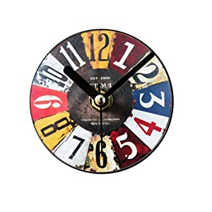 VORCOOL Magnetic Fridge Clock Retro Antique Refrigerator Magnets Sticker Wall Clock Message Stickers