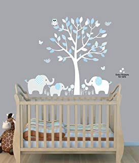 Fabric Tree Wall Stickers, Boy Animal Wall Stickers, Baby Blue, Elephant  Clings Part 53