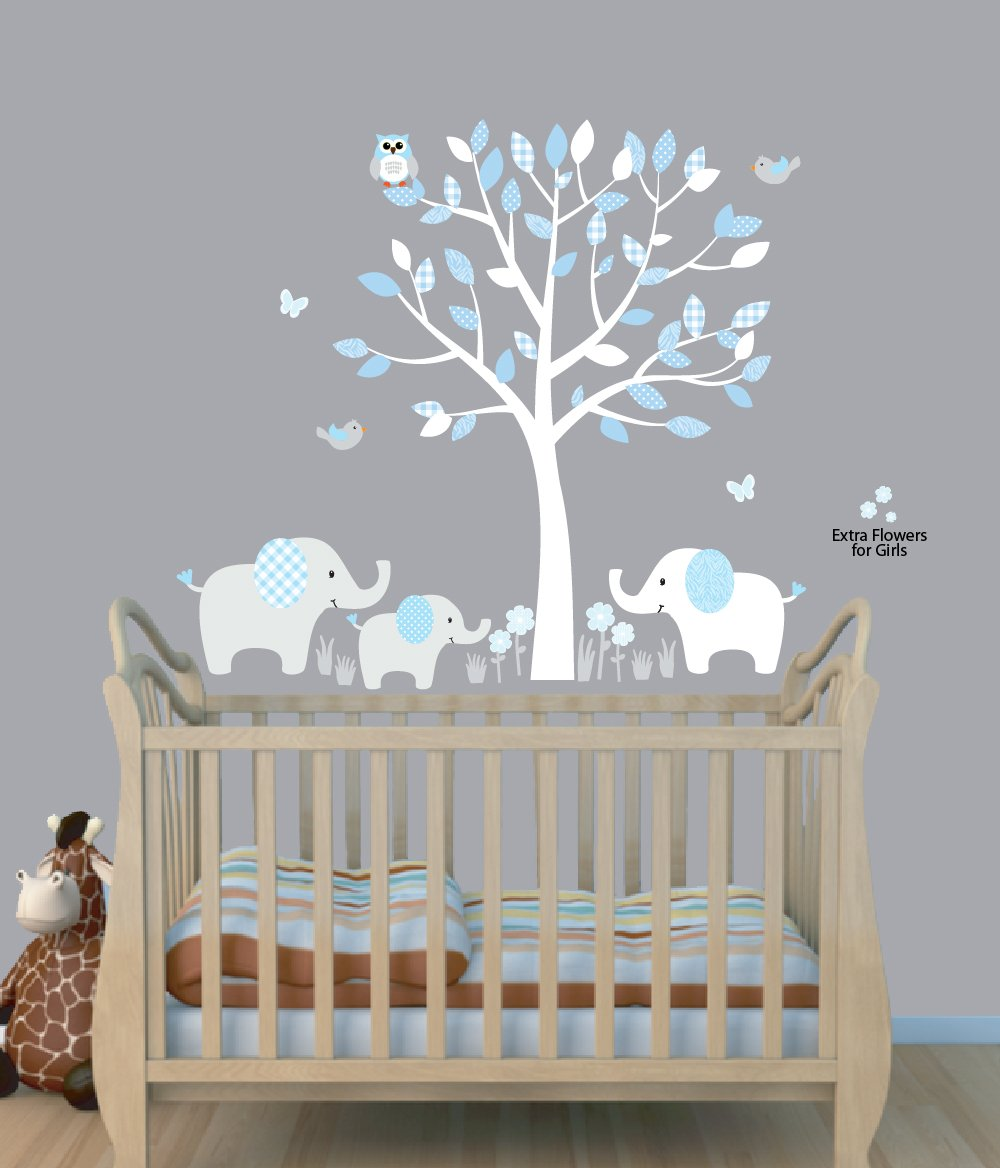 Fabric Tree Wall Stickers, Boy Animal Wall Stickers, Baby Blue, Elephant Clings