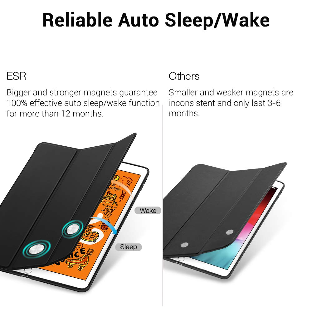 Auto Sleep//Wake and Viewing//Typing Stand for iPad Mini 5 2019 ESR Rebound Slim Smart Case Specially Designed for iPad Mini 5 7.9 2019 Flexible TPU Back Cover with Rubberized Coating Black