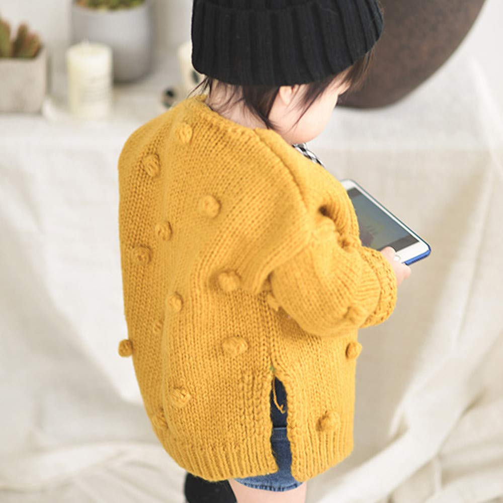 Dream/_mimi Fashion Baby Solid Color Knit Cardigan Button Sweater Outdoor Leisure Top