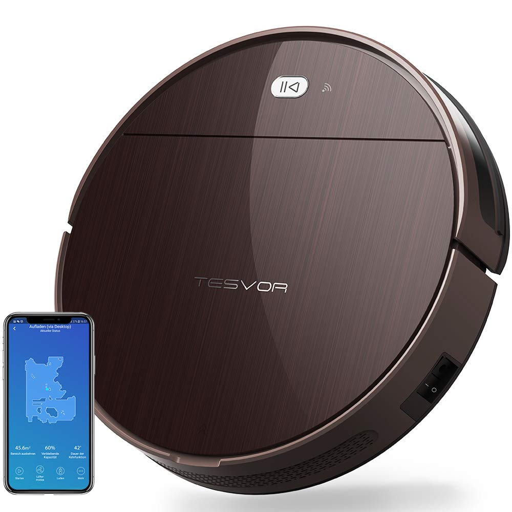 Tesvor Robotic Vacuum, Wi-Fi Connected Robot Vacuum Cleaner with High Suction, App Control, Mapping, Good for Hard Floors and Low-Pile Carpets