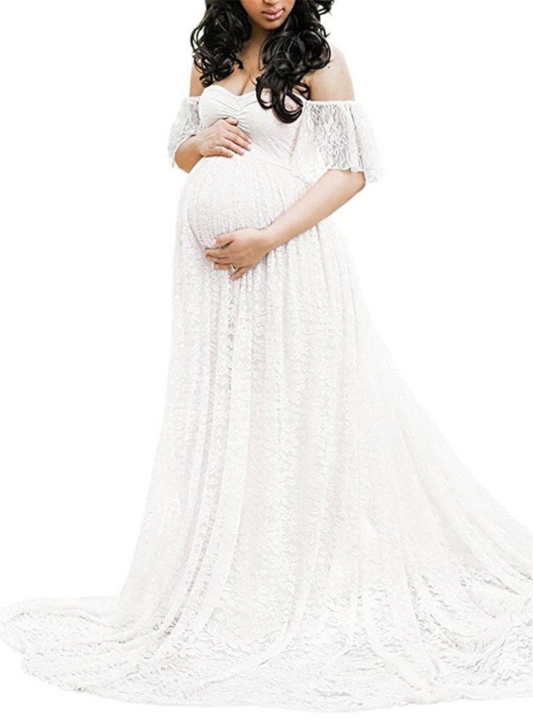 Maternity Photography Props Floral Lace Dress Fancy Pregnancy Gown for Baby Shower Photo Shoot (2XL, White)