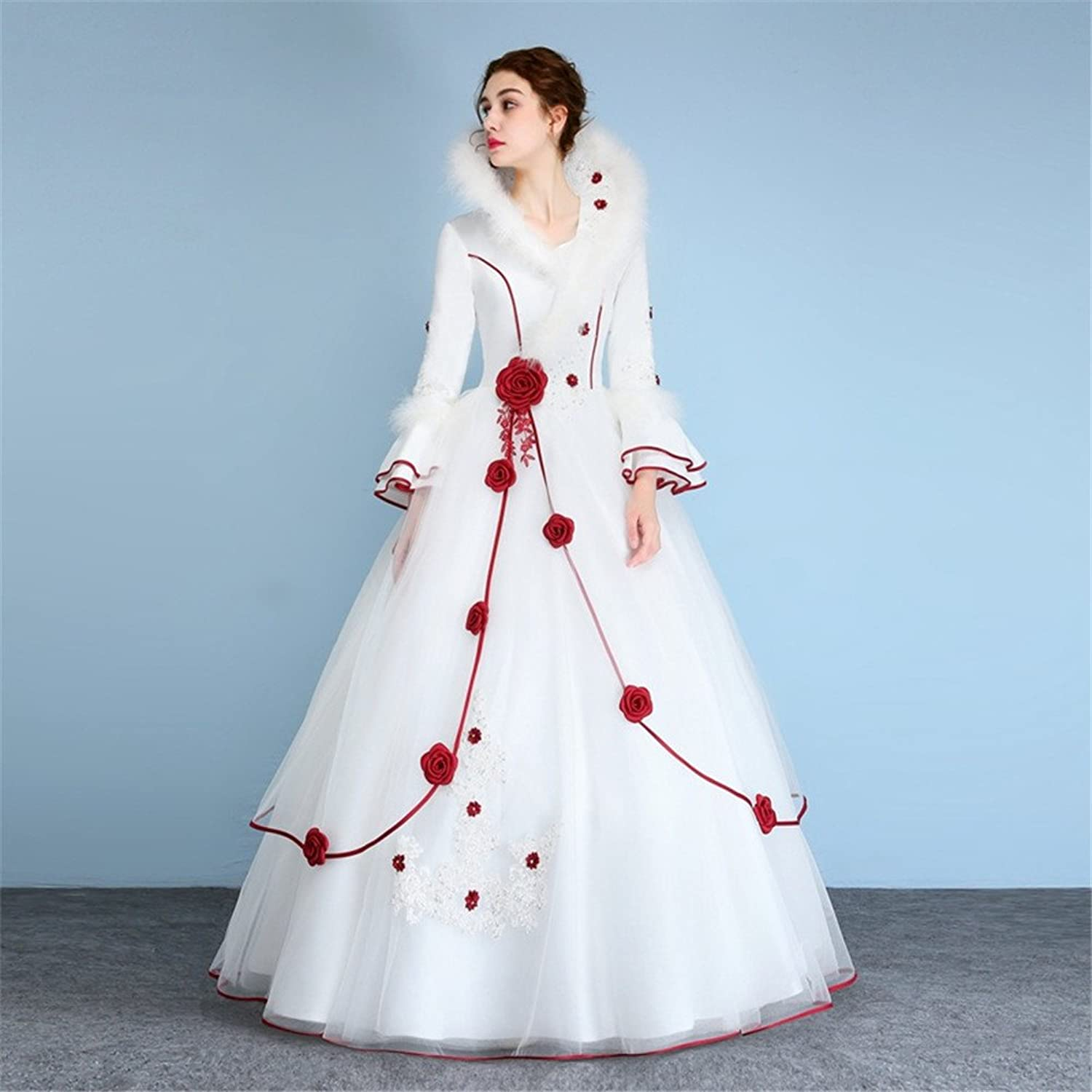 Luxurious Wedding Dress Bride Stand Collar Long Sleeves Lace Rose ...