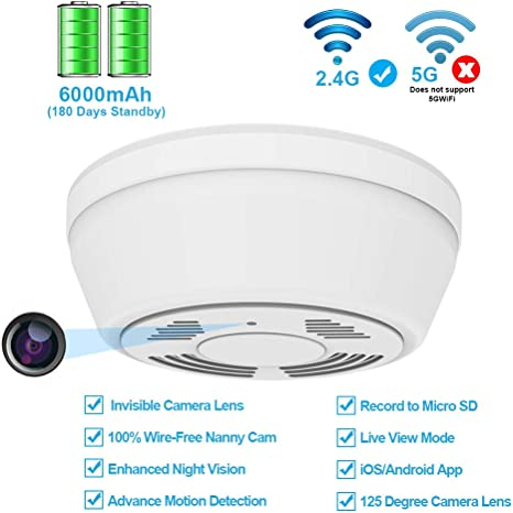 Amazon.com: Cámara oculta con detector de humo WiFi, cámara ...
