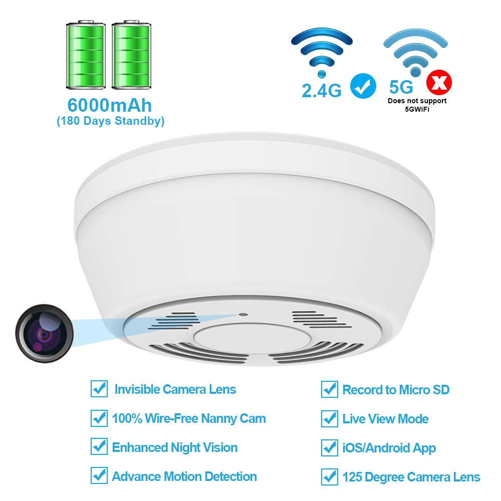 Hidden Camera Smoke Detector WiFi,FUVISION Motion Activated Nanny Camera with 180 Days Battery Power,Remote Internet Access,Night Vision,SD Card Slot,Bottom View Covert Camera Lens for Home Security by FUVISION