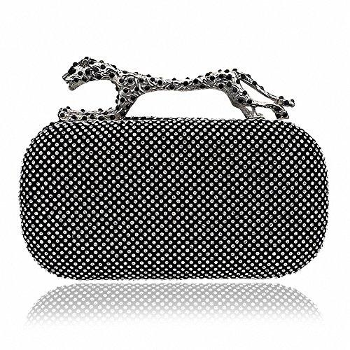 Afibi Rhinestones Leopard Evening Bag Purses Clutch Bag Handbag (Black) (Leopard Clutches)