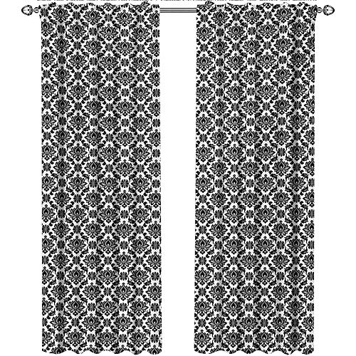 Returiy Damask, Country Curtains Valance, Baroque Monochrome Floral Arrangement with Victorian Inspirations Leaves Swirls, Curtains for Sliding Glass Door, W108 x L96 Inch, Black White