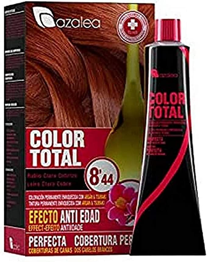 Azalea Total Tinte Capilar Permanente, Color Rubio Claro Cobrizo - 224 gr