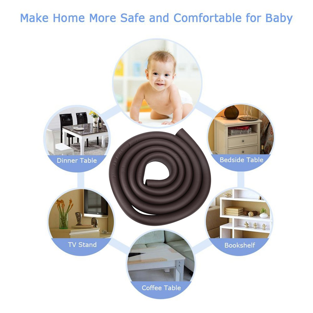 jntworld glass table edge Guard protector +4 corner 4m + 4 esquinas, marr/ón 10 colours choice for baby soft Non-toxic and environmentally friendly