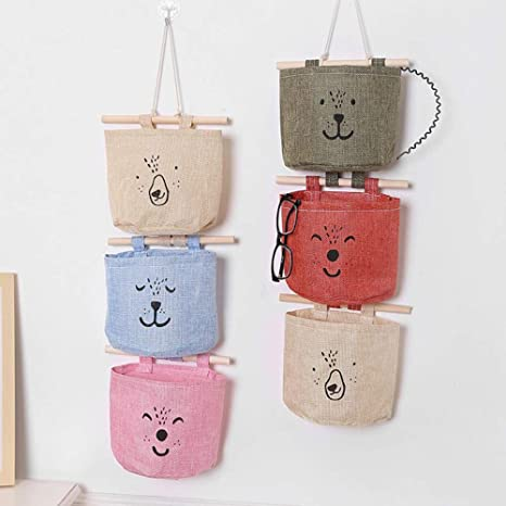 JameStyle26 - Bolsa de almacenamiento con 3 bolsillos para colgar de la habitación de los niños