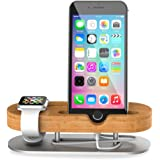 TechVibe Apple Watch Stand, Wood & Aluminum Charging Stand Bracket Docking Station Cradle Holder for iPhone 7/6s/6/5s and Apple Watch 38mm 42mm Series 1 Series 2 -Brown