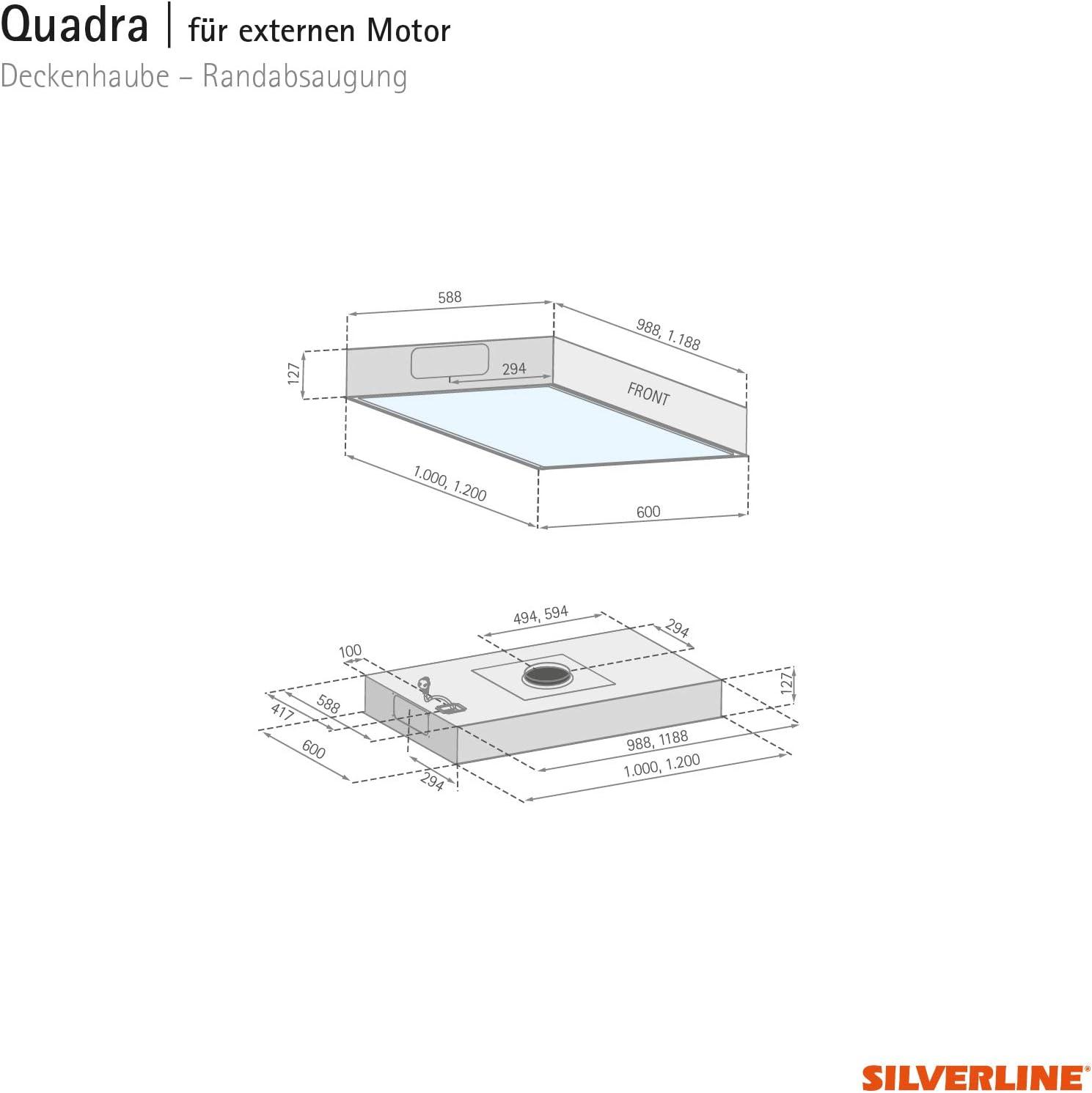SILVERLINE QUD 124 S Quadra Deckenhaube//Dunstabzugshaube//Inselhaube 120 cm//C