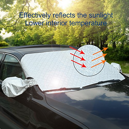 AUTSCA Car Windshield Snow Cover Sun Shade Protector with Rearview Mirror Protector and Anti-Theft Edges