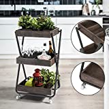 HOMY CASA 3 Tier Rolling Utility Storage Cart,Retro Style Wooden Bar Serving Cart Build-in Organizer Kitchen Living Room Multipurpose, Walnut Color, Height 34 Inches