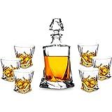 KANARS Set de Verres à Whisky avec Carafe à Décanter et Bouchon - Verre en Cristal - Bouteille de Whisky 750ml avec 6 Verres à Whiskey 300ml - 7 Pièces