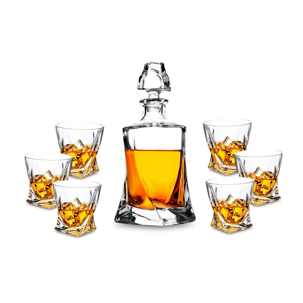 KANARS Whisky Decanter Set 7- Piece - Lead Free Crystal Whiskey Carafe 750ml with 6 Large 300ml Tasting Tumblers for Drinking Scotch, Bourbon, Brandy - Luxury Gift Box for Men Or Women DOSEN Tech