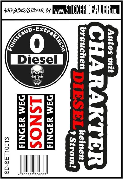 Aufkleber Sticker Set 3 Motive Diesel Feinstaub Umwelt Plakette Jdm Fahrverbot Tuning Racing Stickerbomb TÜv Umweltzone Fun Lustig Sparset Berühren Verboten Schwarz Auto
