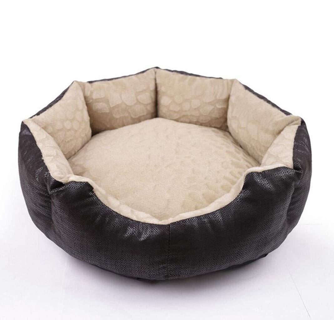 Black LGKKXUE Cat nest, Warm pet nest, Summer mat pet bed, kennel (color   Black, Size   L)