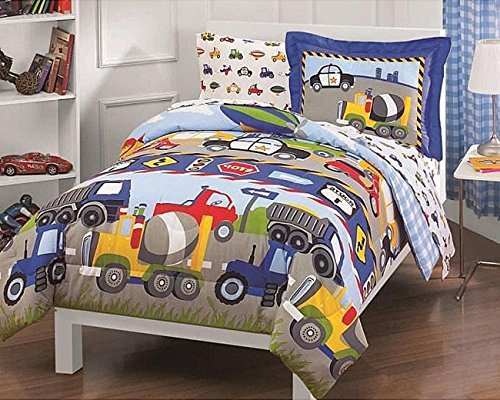 5Pc Boys Trucks Tractors Comforter Twin Set  Police Car Construction Dump Truck Tractor Air Plane Blimp Scooter Bedding  Bright Vibrant Blue Yellow Red Green  Road Sign Themed