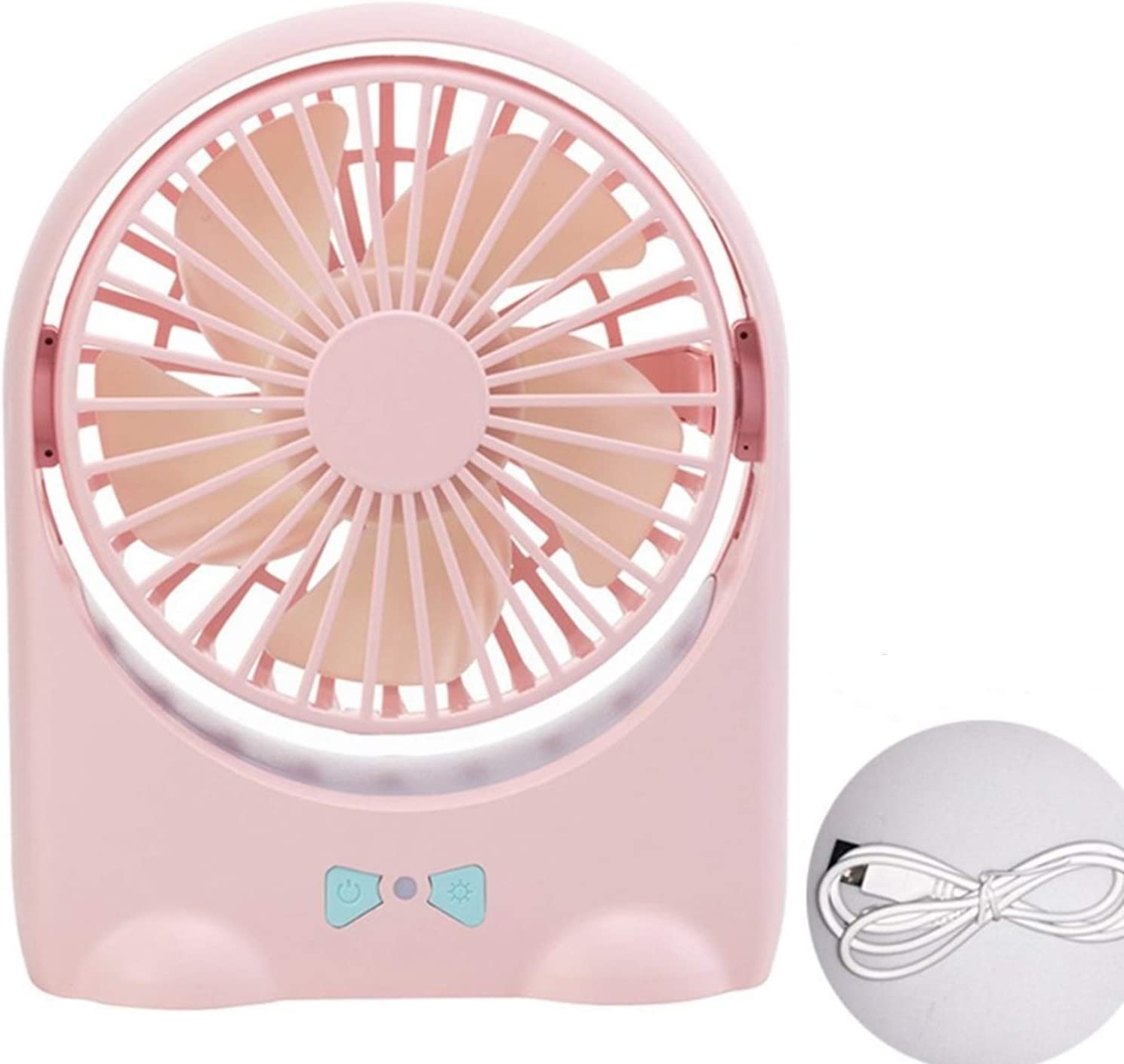 Convenient USB Small Electric Fan Rechargeable Mini Portable Mute Student Dormitory Office Desktop Electric Fan Handheld Durable Color : Pink