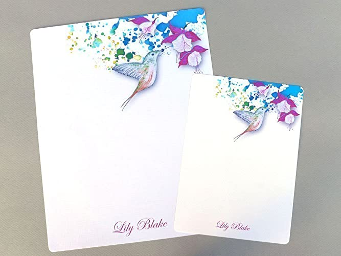 complete personalized stationery letter writing set hummingbird fuchsia set of 24 floral