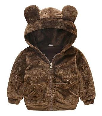 5023fa8de6a Amazon.com  LOTUCY Baby Boys Girls Faux Fur Fleece Hoodie Winter Warm Coat  Jacket Cute Bear Thick Clothes  Clothing