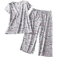 54a47ba6df PNAEONG Women s Pajama Sets Capri Pants with Short Tops Cotton Sleepwear  Ladies Sleep Sets