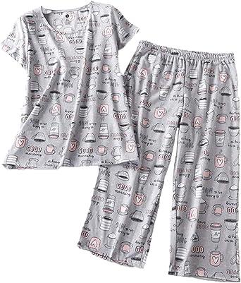 Three Dots Womens Pajama Set Loose Mid Shirt