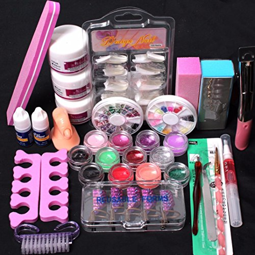 lock Shinning Nail Powder Polish Manicure Nail Art Suits (39pcs, Colorful) (Curved Extension Tube)