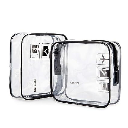Amazon.com: 2 bolsas de aseo transparentes para viajes ...