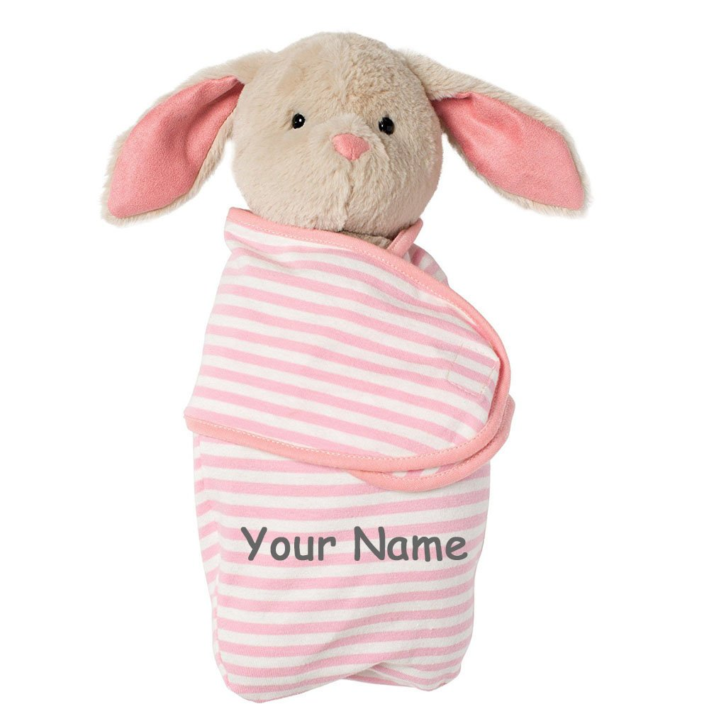 Personalized Swaddle Baby Bunny with Pink and White Striped Removable Swaddle Blanket Stuffed Animal Toy - 12 Inches