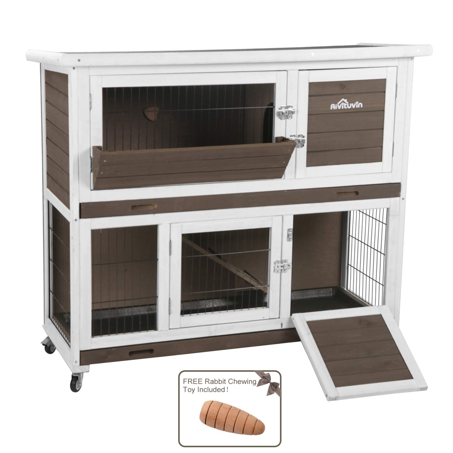 Aivituvin Rabbit Hutch with Run Indoor and Outdoor 47 Inch 2- Story Bunny cage on Wheels - 2 Deep No Leakage Pull Out Tray by Aivituvin