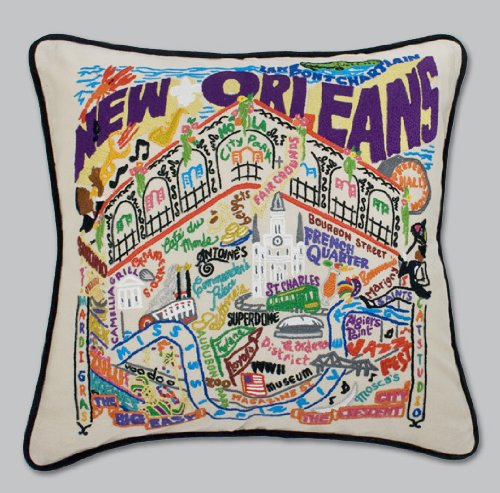 New Orleans Pillow by Catstudio Embroidered Pillow