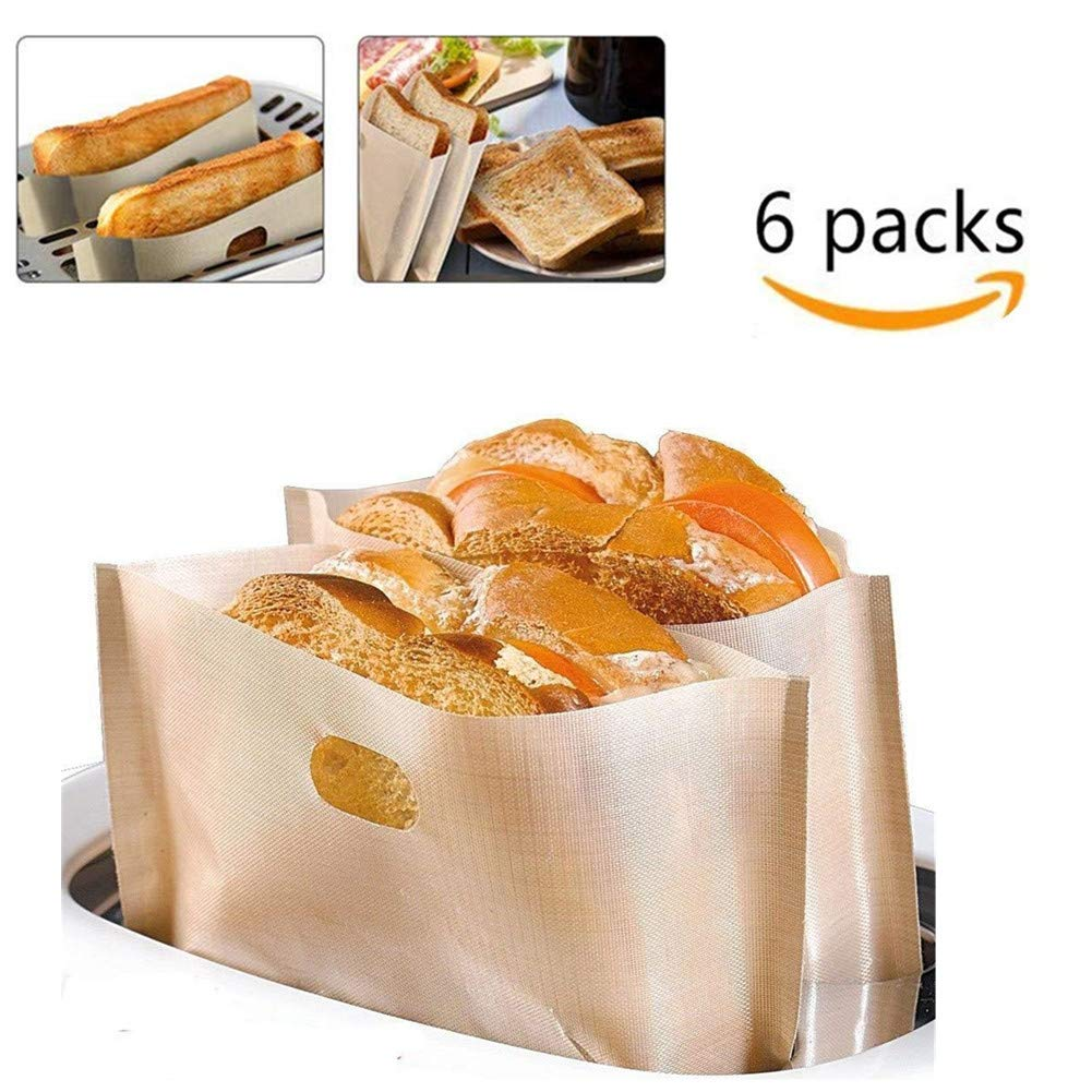 Toaster Bags Reusable 6-Pack, DOCA Heat Resistant Non-Stick Toaster Oven Bags for Grilled Cheese Sandwich Hot Dogs Chicken Vegetables Panini & Garlic Toasts - 100% BPA & Gluten Free | Easy To Clean