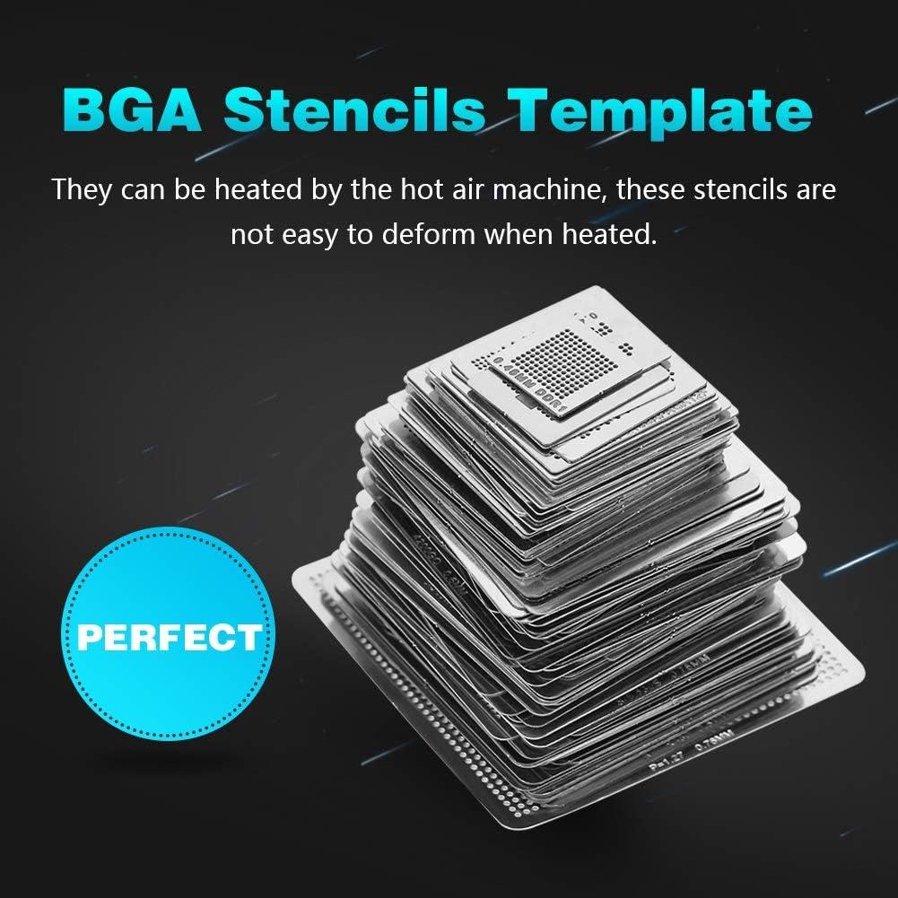 BGA Reballing Stencils Delaman BGA Universal Reballing Rework Net Stencils Steel Template Mesh Directly Heat Set Kit 130pcs