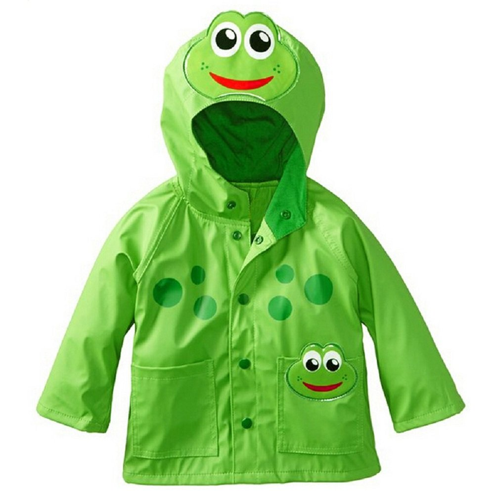 Sorrica Kids Girl's and Boy's Frog Lightweight Waterproof Hooded Jacket Outwear Raincoat (110(Fit for 3-4 Ages), Green)