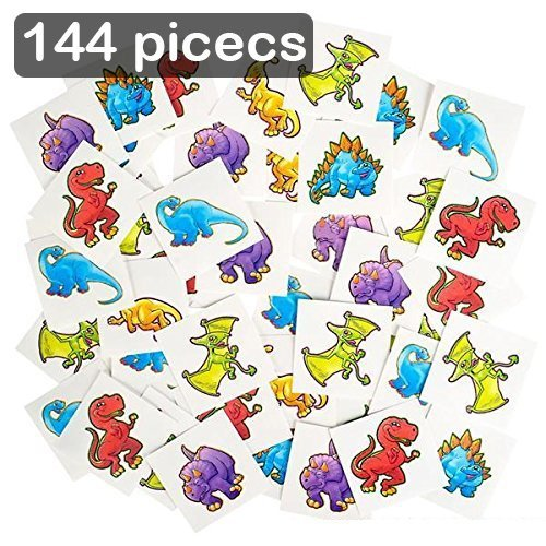 - Dinosaur Temporary Tattoo Kit 144 Pieces- 2 Inch Kids Dino Assortment- Bright & Colorful Cute Prehistoric Dinosaur Temporary Tattoo Toys for Kids And Adults Birthday Party Supplies
