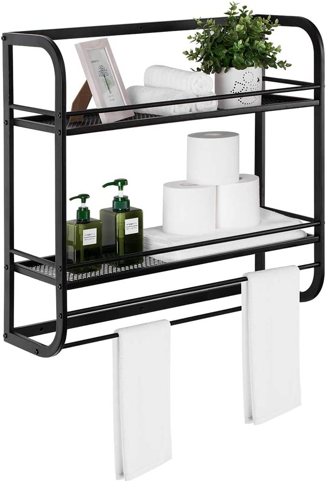 Black 2-Tier Metal Bathroom Shelves Wall Mounted Rustic Pipe Floating Shelves with Towel Bar and 10 Hook Rack Industrial Shelf Bathroom