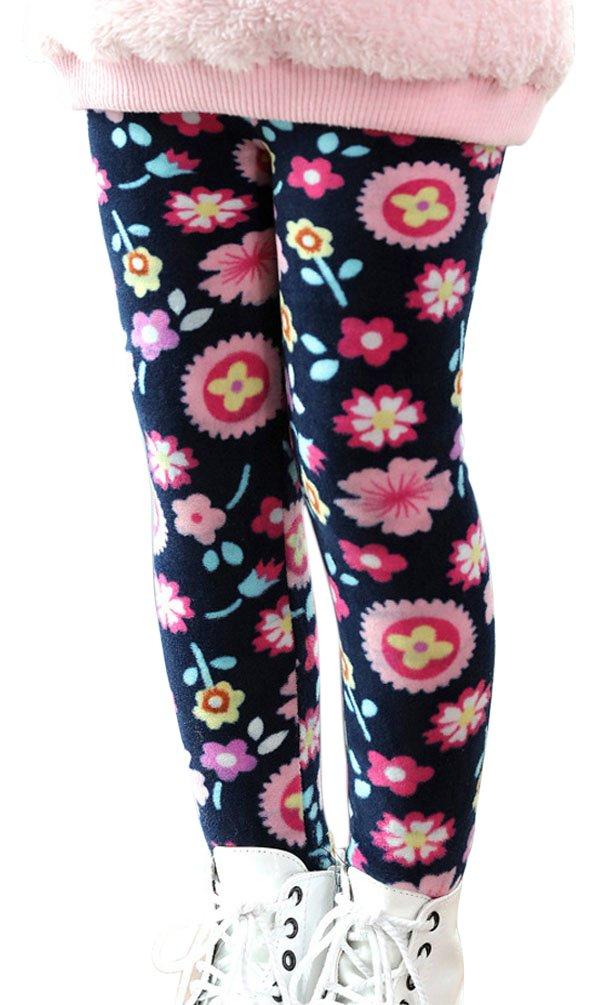 BogiWell Kid Girl Winter Cute Warm Thick Fleece Legging Pant Type 8(US 6-8T, Tag 150)