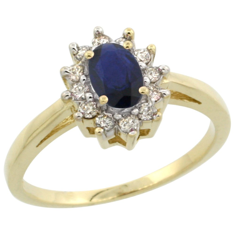 14K Yellow Gold Natural Blue Sapphire Flower Diamond Halo Ring Oval 6x4 mm, size 6.5