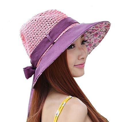 961ff8fde9e Outdoor Women s Beach Hats Sunbonnet Straw Hat Large Brim Cap Bowknot Totem  Topee Uv Sun Hat
